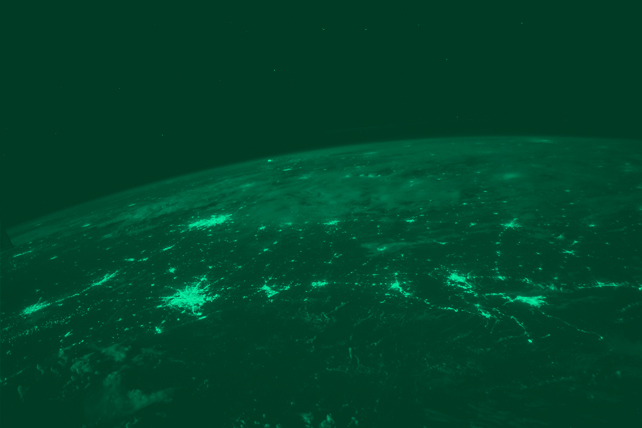 Shot of Earth from space showing many international countries
